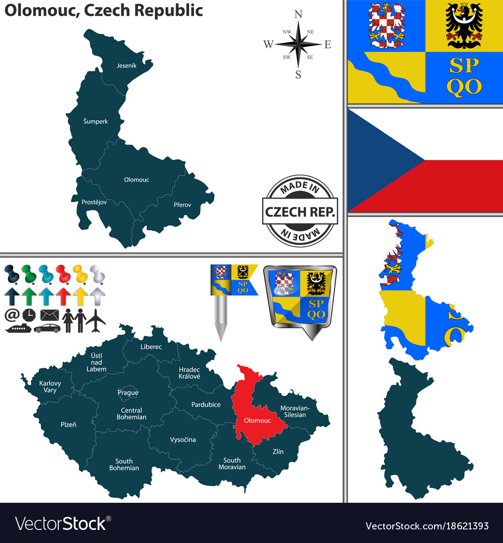 Map of olomouc czech republic Royalty Free Vector Image