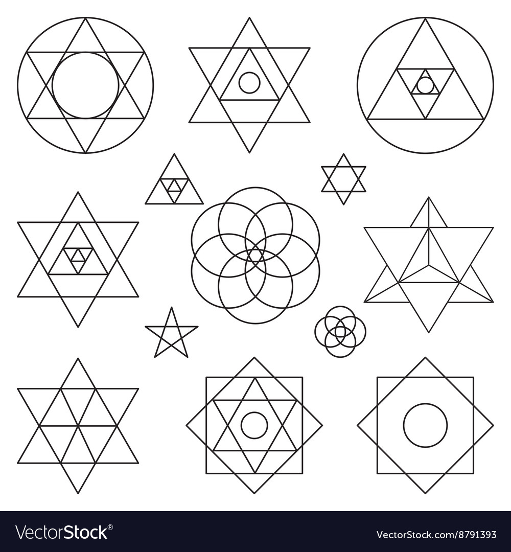 Sacred geometry symbols elementsblack outline vector image sacred geometry symbols elementsblack outline vector image buycottarizona