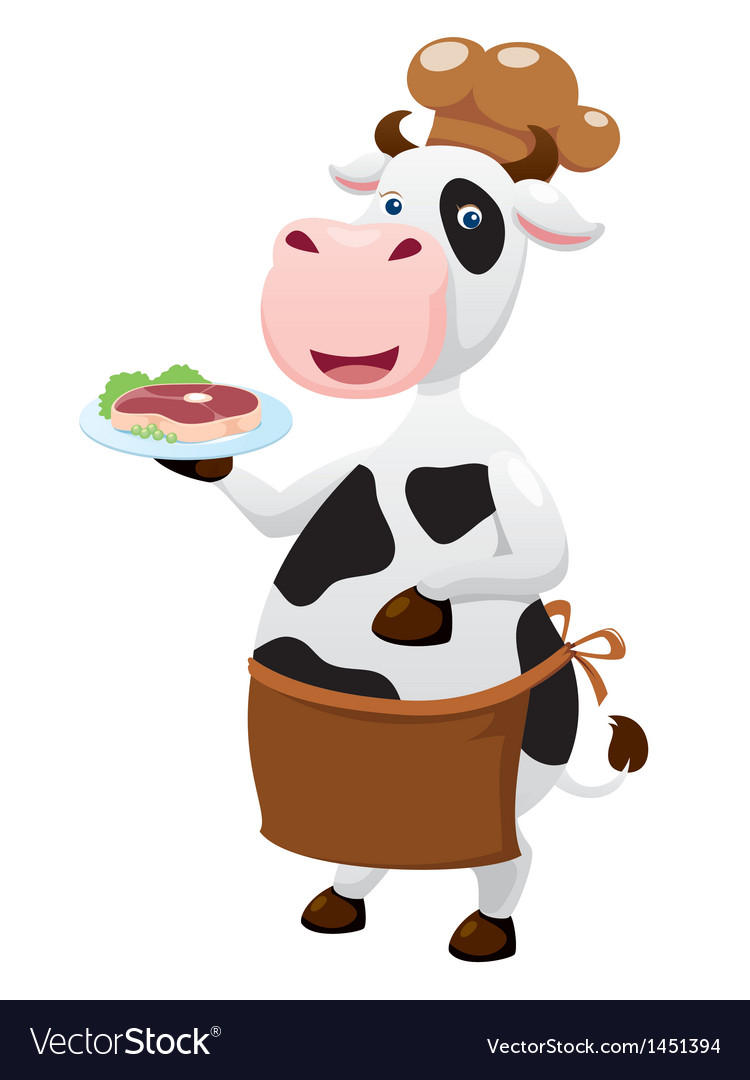 Cow cartoon with beef steak vector image