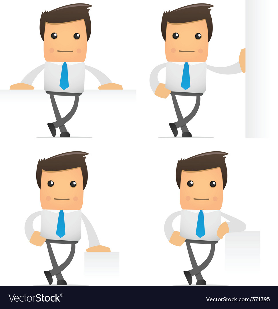 Set of funny cartoon manager vector image