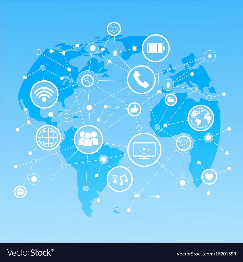 Social media icons over world map background vector image gumiabroncs Image collections