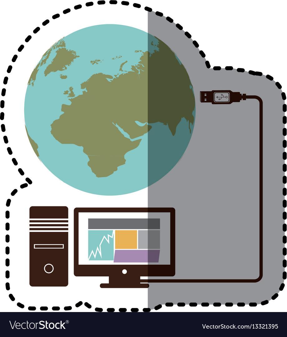 Sticker desktop computer global hosting database vector image