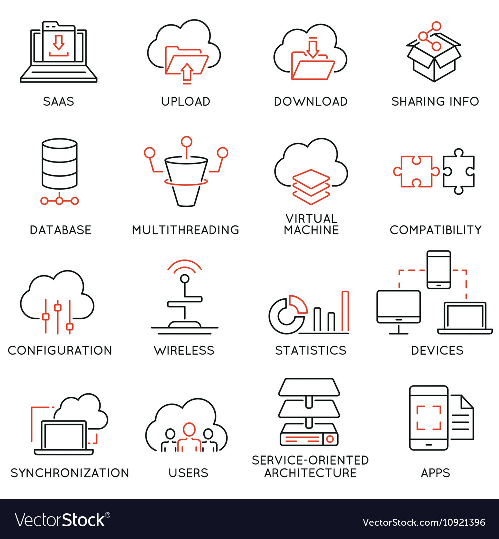 Cloud computing service icons - 2 vector image