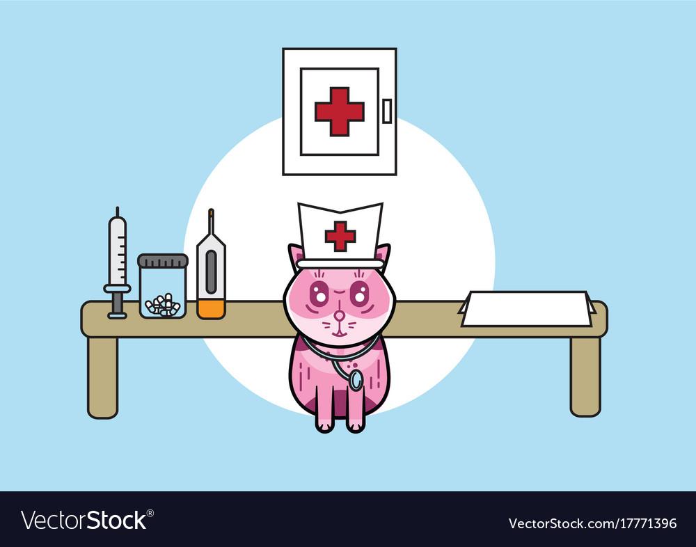 Cute medical cat vector image