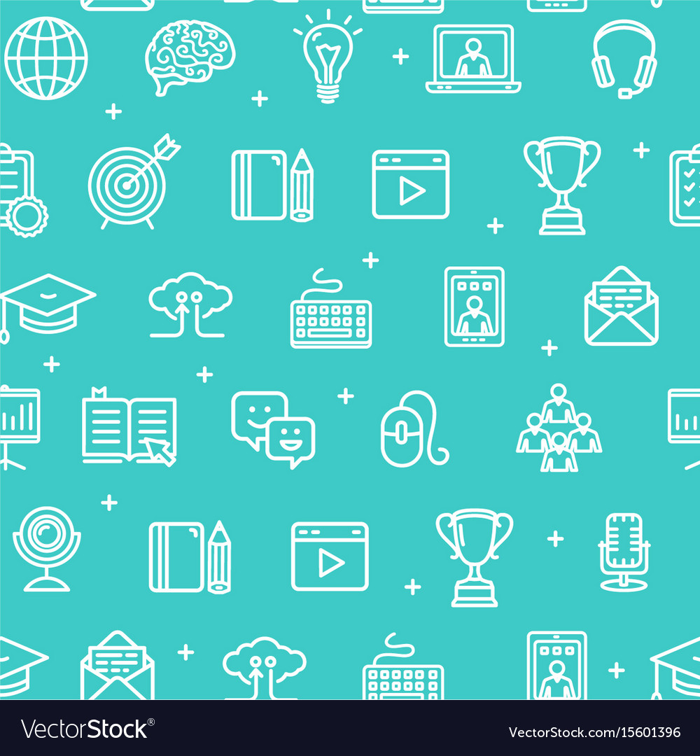 Education online pattern background vector image