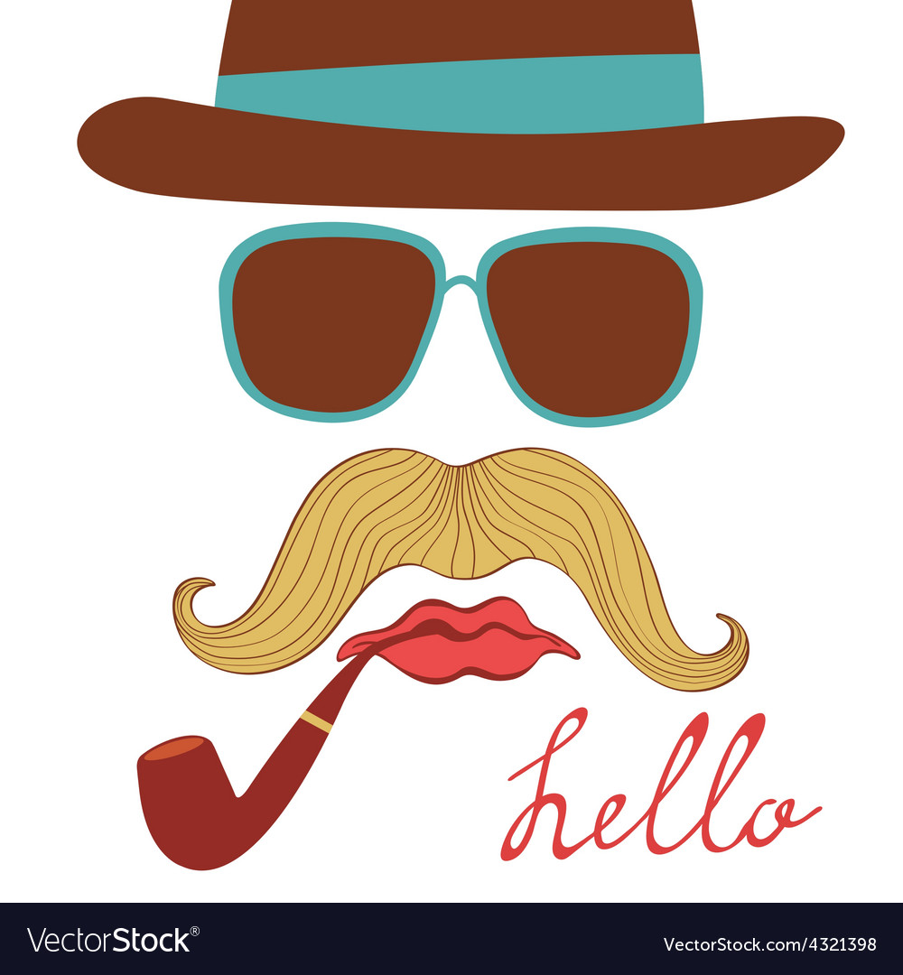 Hello card with colorful mustache party elements vector image