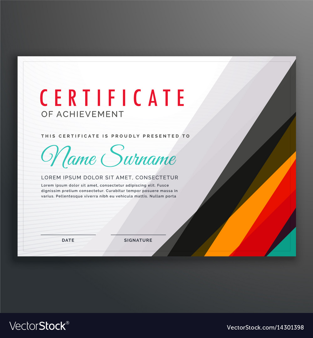Modern certificate design template with colorful vector image modern certificate design template with colorful vector image alramifo Images