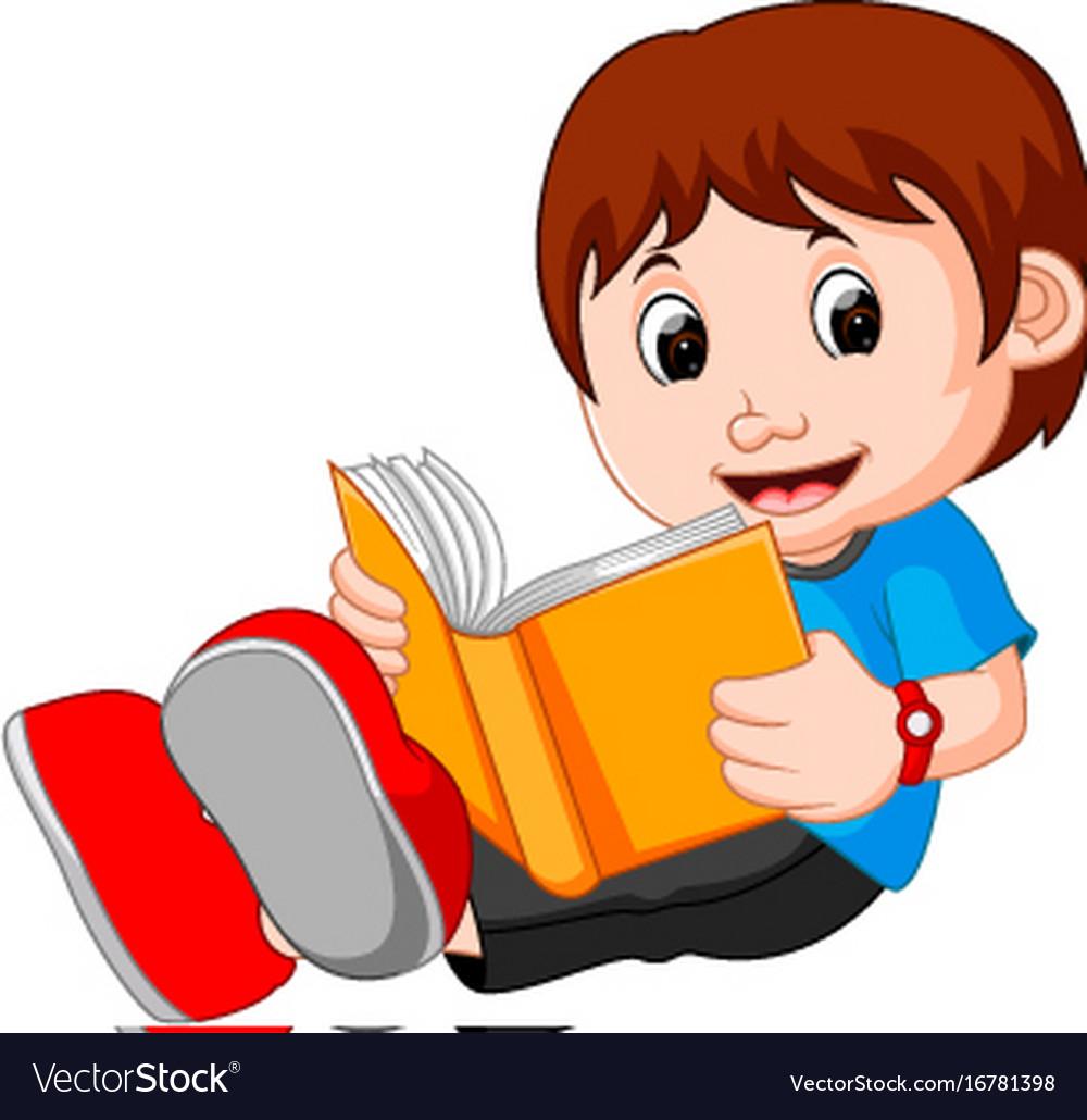 Young boy cartoon reading book vector image