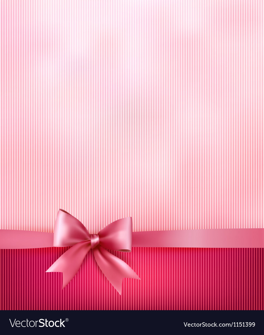 Elegant holiday background with gift pink bow and vector image