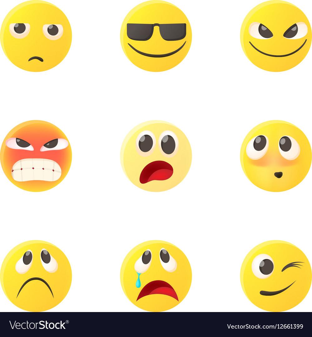 Emoticons icons set cartoon style vector image