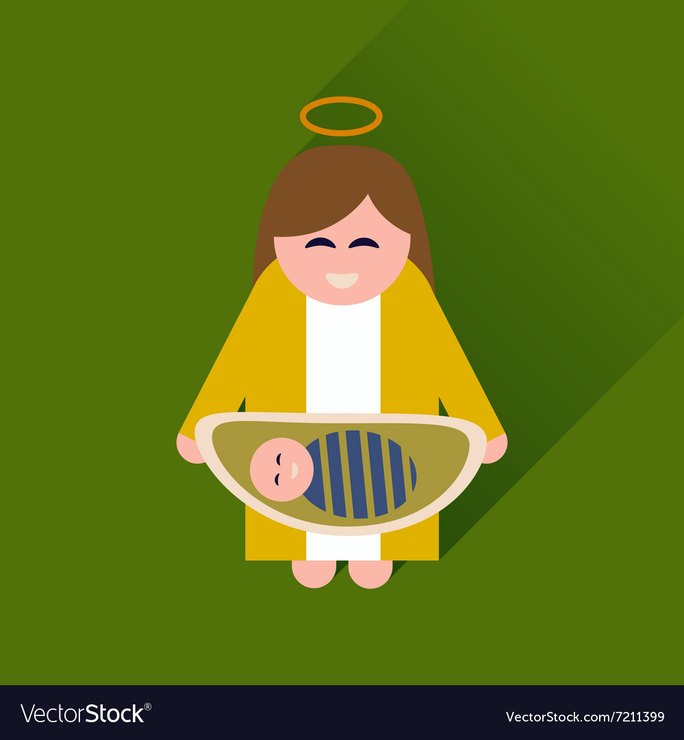 Flat icon with long shadow Virgin Mary and Jesus