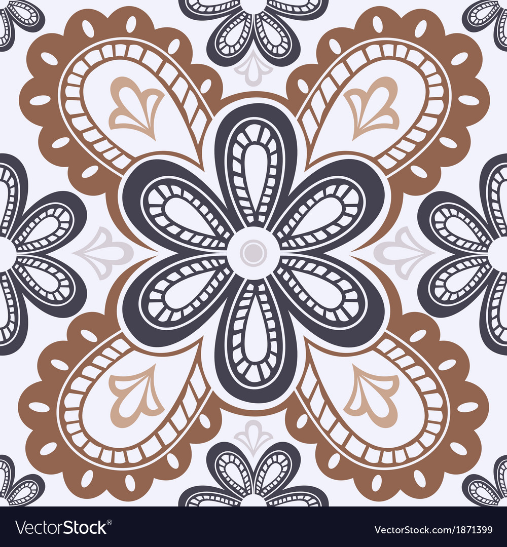 Lace floral seamless pattern vector image