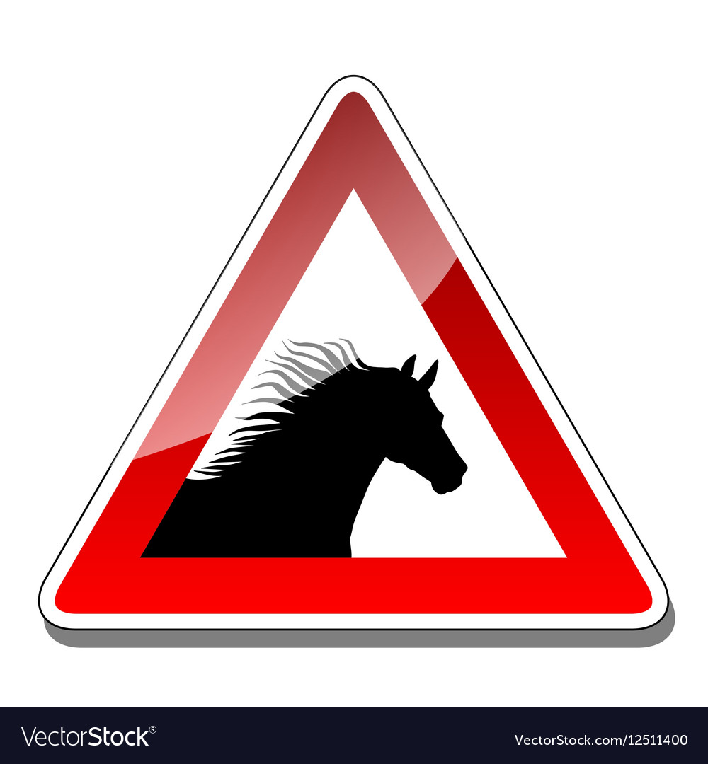 A warning sign horse vector image