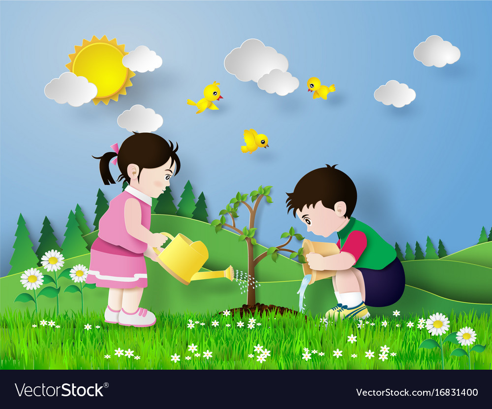 Child pouring water on the tree vector image