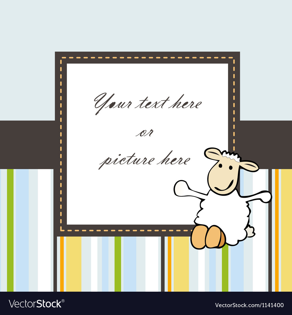 Lovely blue baby card or frame vector image