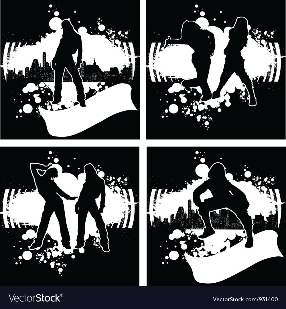 Set Of One Color Hip-Hop Graffiti vector image