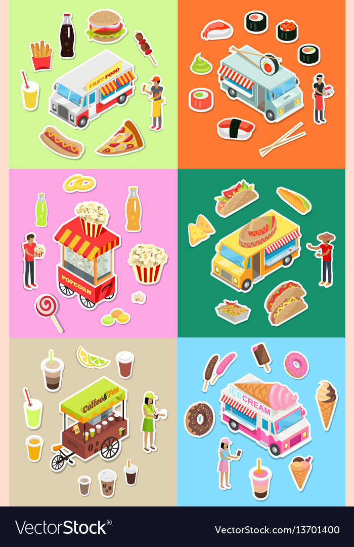 Set of street fast food eatery on wheels vector image