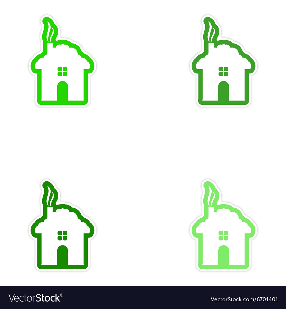 Set of paper stickers on white background house