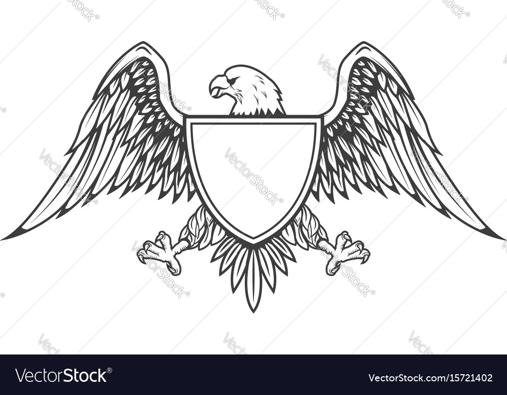 Eagle with shield isolated on white background vector image
