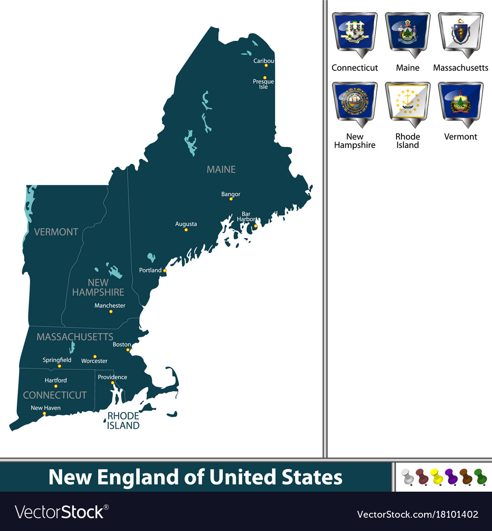 New england of united states Royalty Free Vector Image