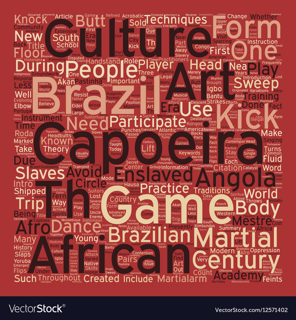 The Martialarm Intro To Capoeira text background vector image