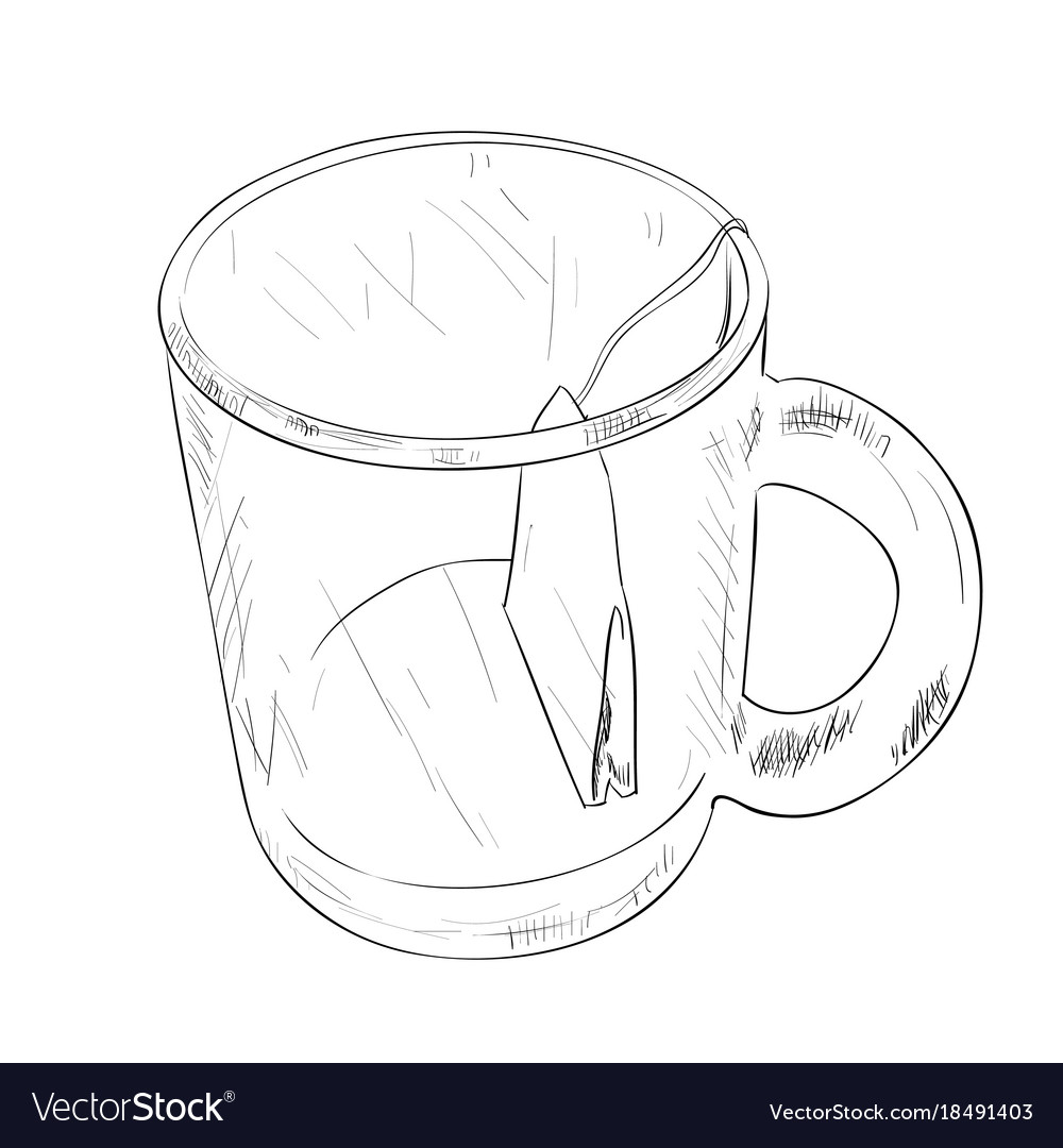 Sketch of cup with tea bag Royalty Free Vector Image