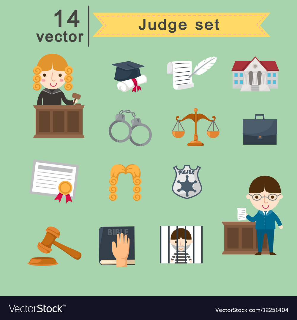 Judge set vector image