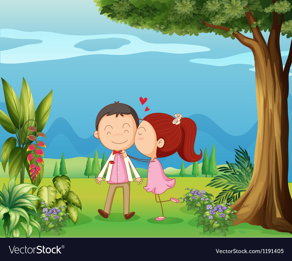 Lovers in the hills vector image