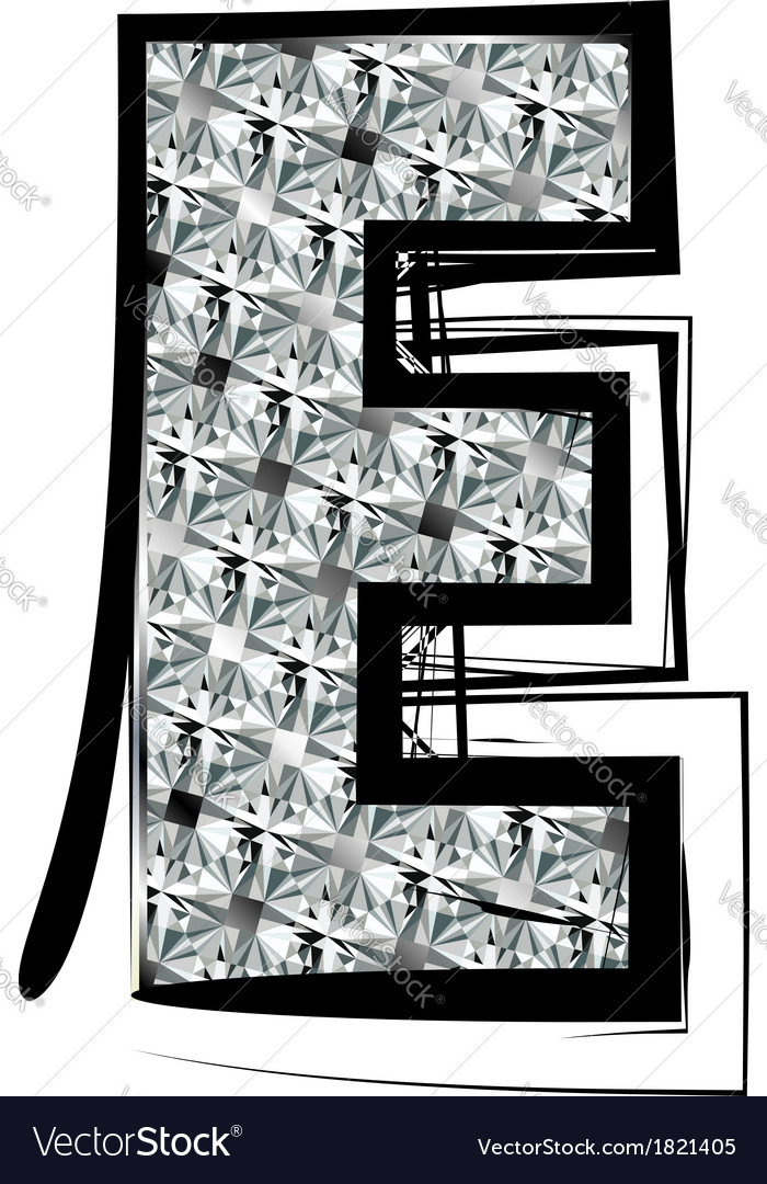 Diamond Font letter E vector image