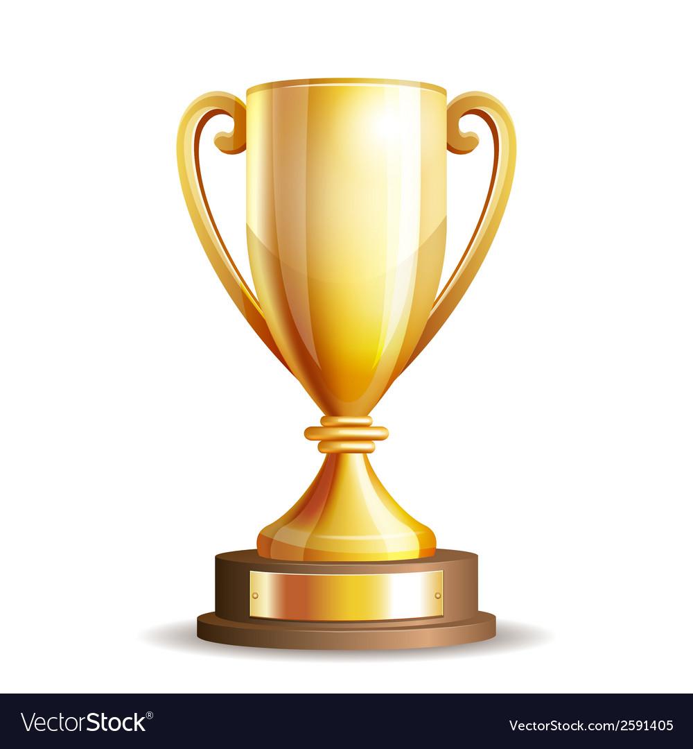 Golden trophy cup vector image