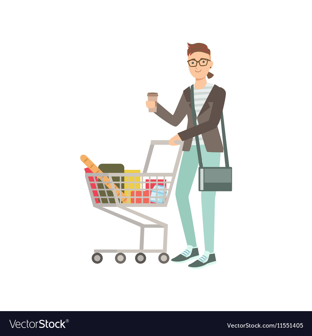 Guy Drinking Coffee And Grocery Shopping vector image