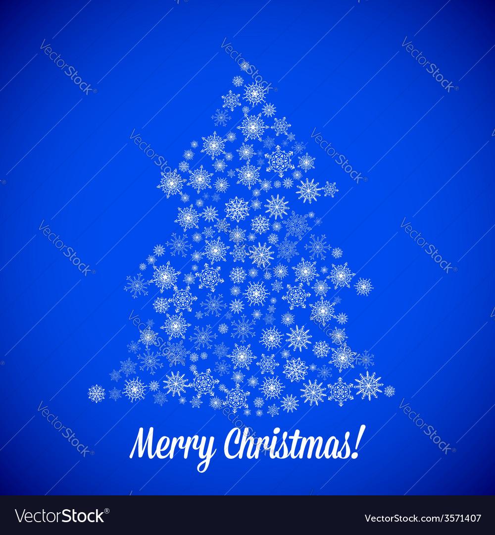 Christmas tree made of random snowflakes vector image