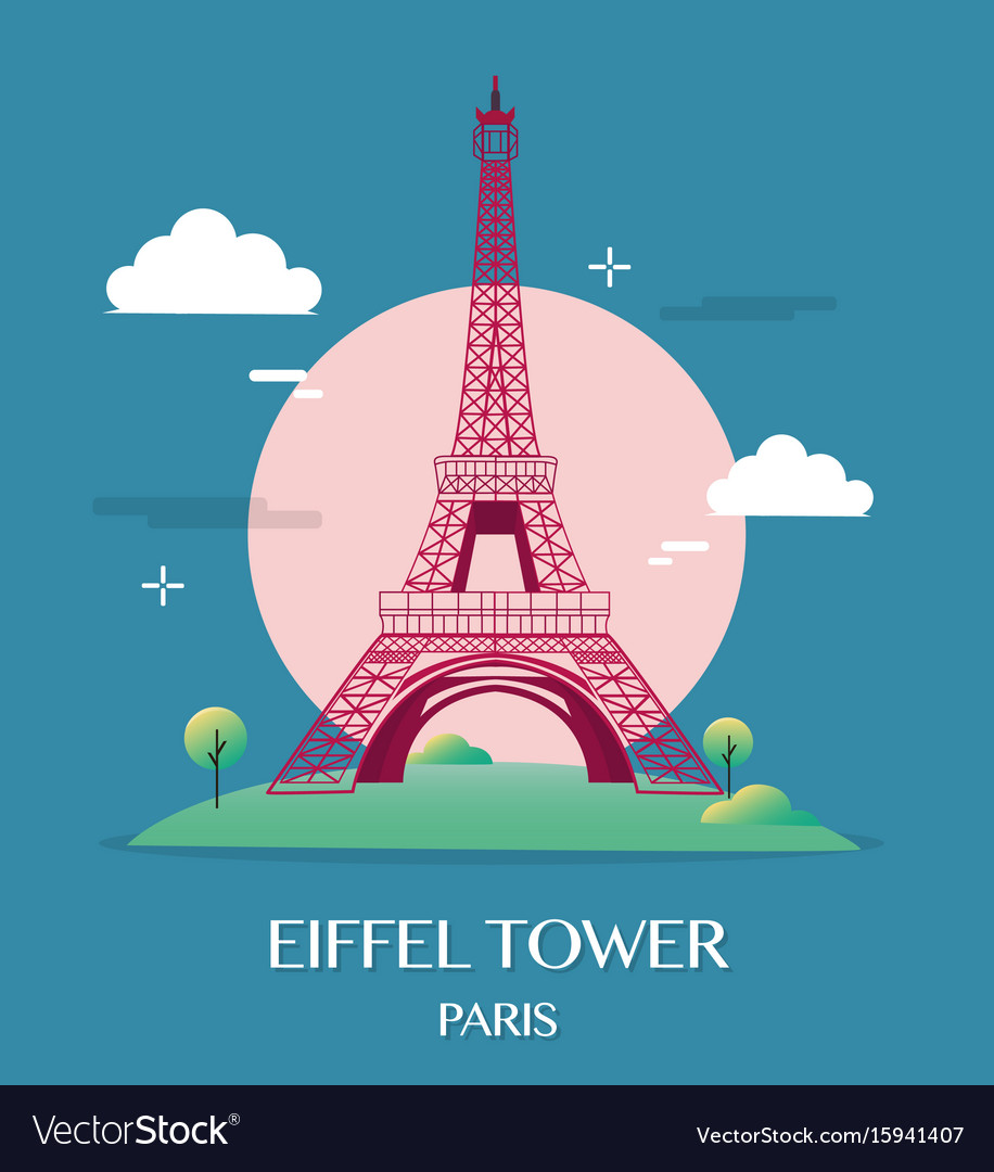 Famous landmark eiffel tower paris france vector image