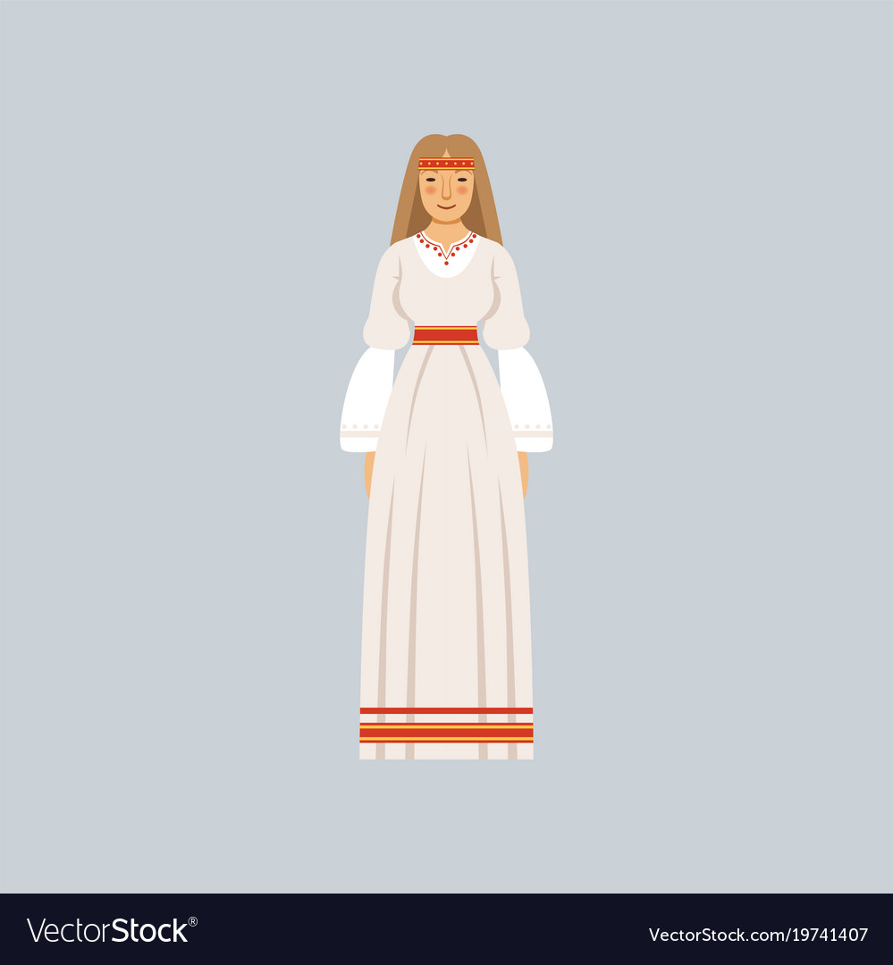 Young woman in traditional slavic or pagan costume vector image