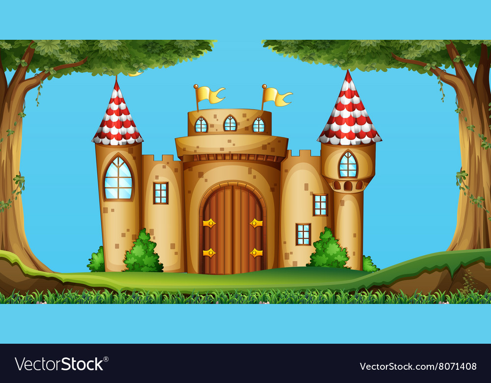 Castle towers in the field vector image