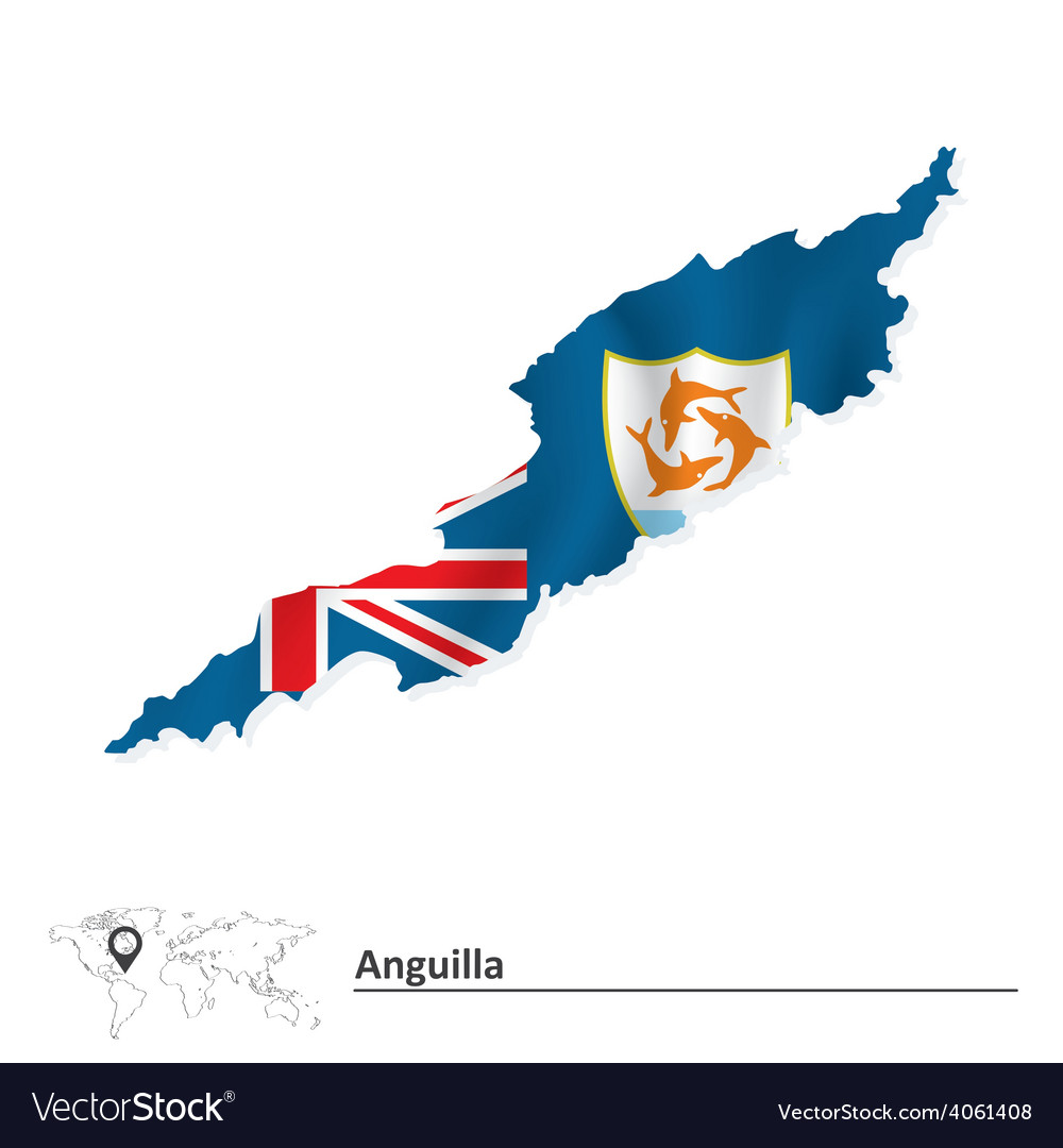 Map of Anguilla with flag vector image