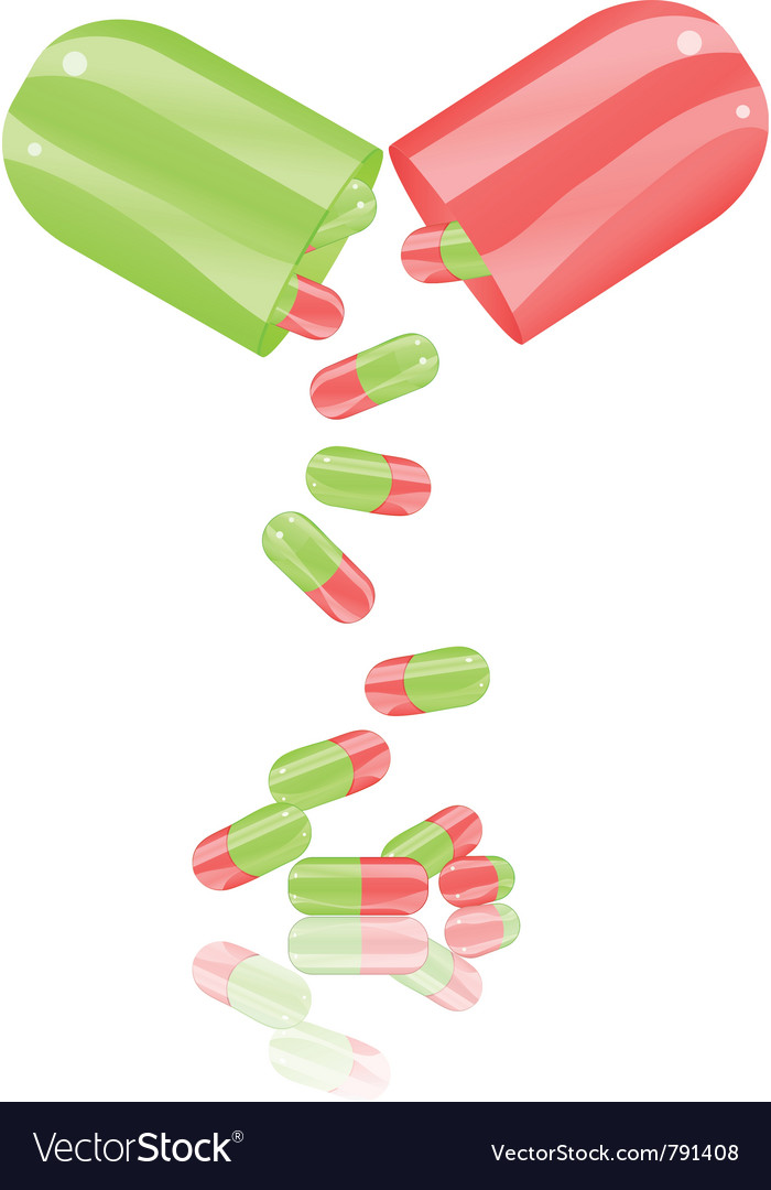 Open pill capsule vector image
