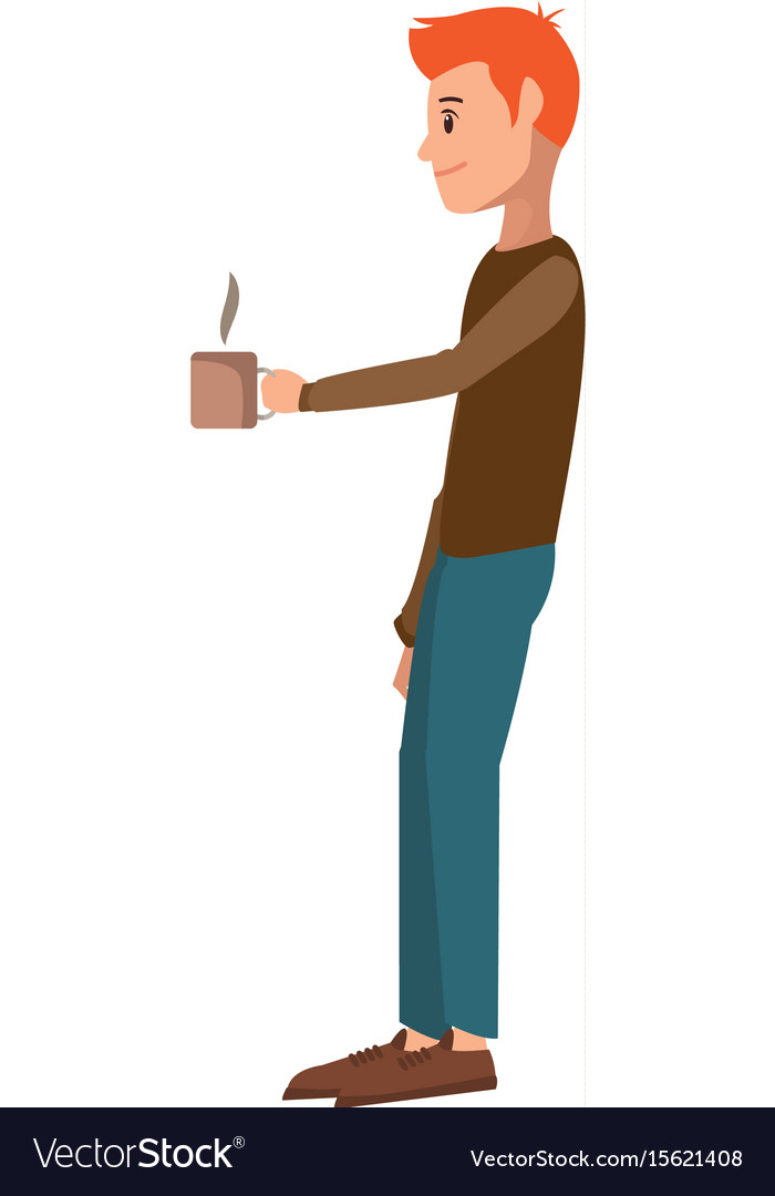 Young man holding coffee cup hot vector image