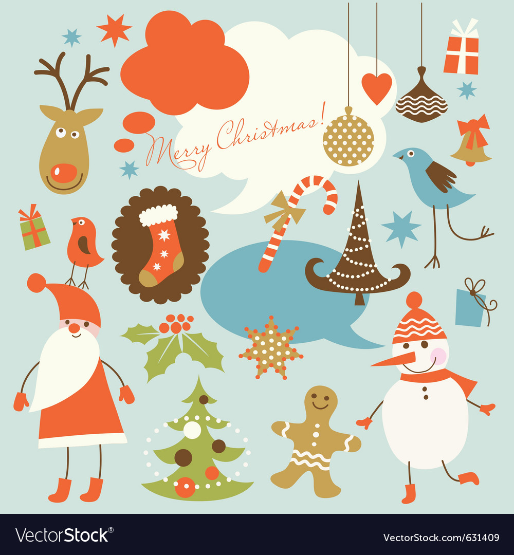 Christmas background collection of icons vector image