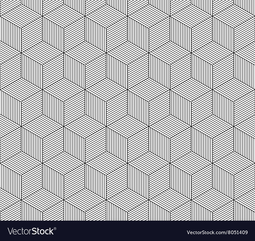 Abstract striped 3d cubes geometric seamless vector image