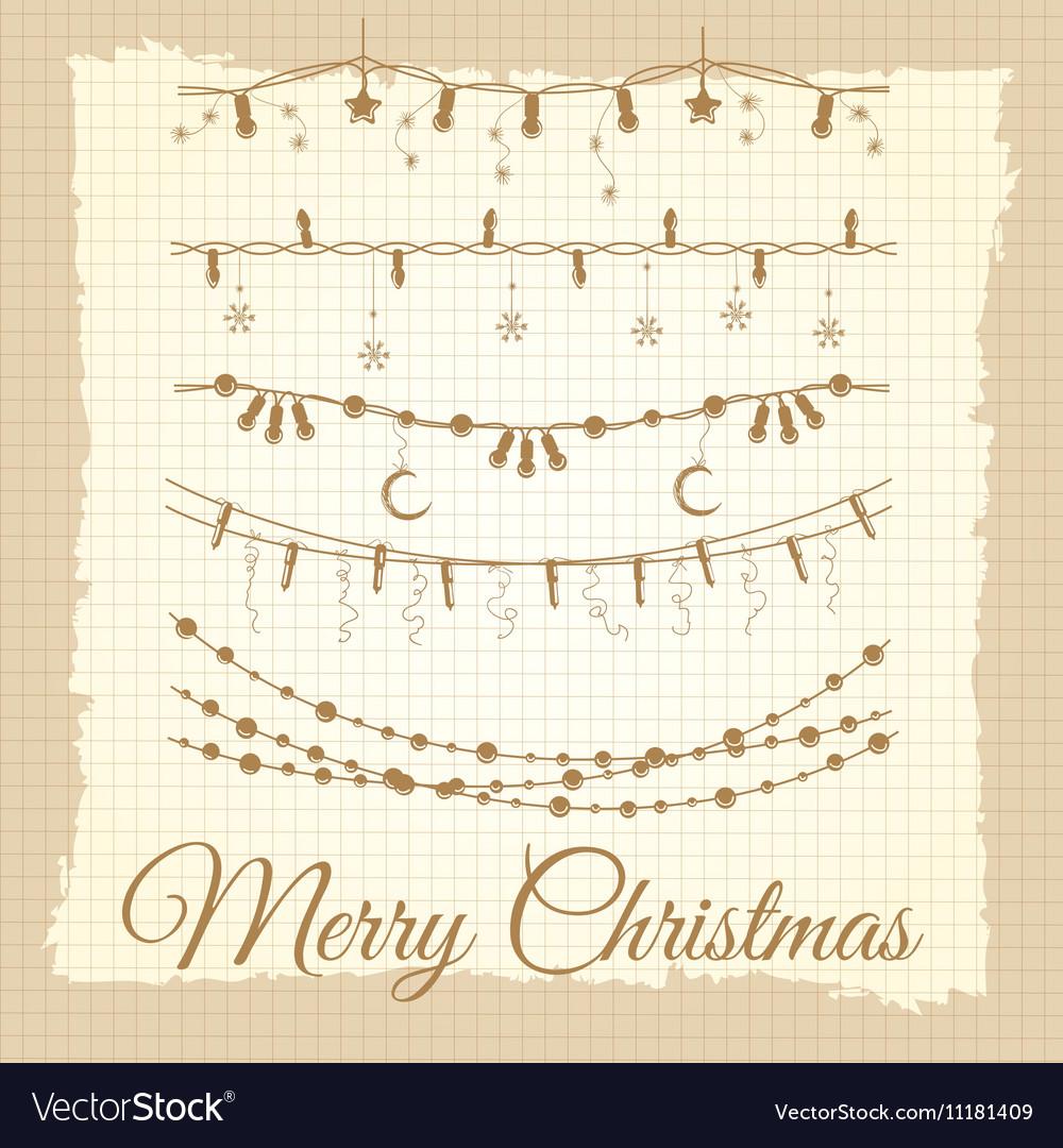 Vintage christmas garland set vector image