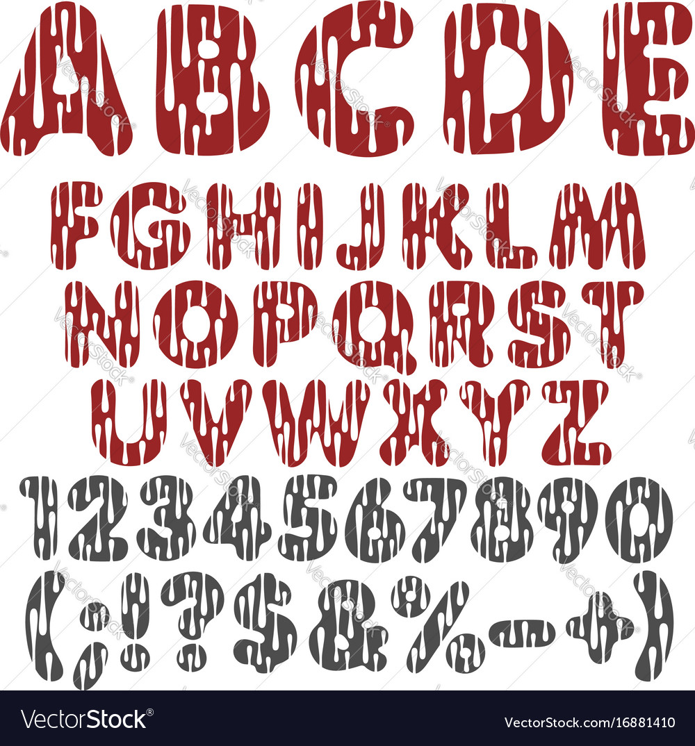 Alphabet letters numbers and signs with drops Vector Image