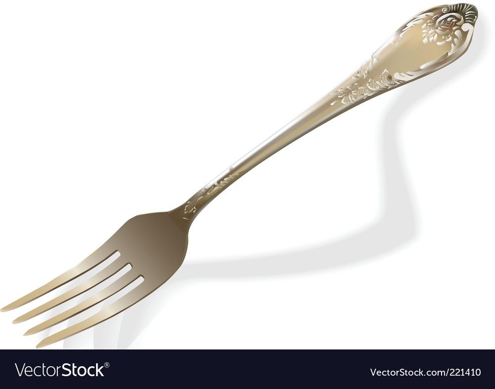 Silver fork vector image