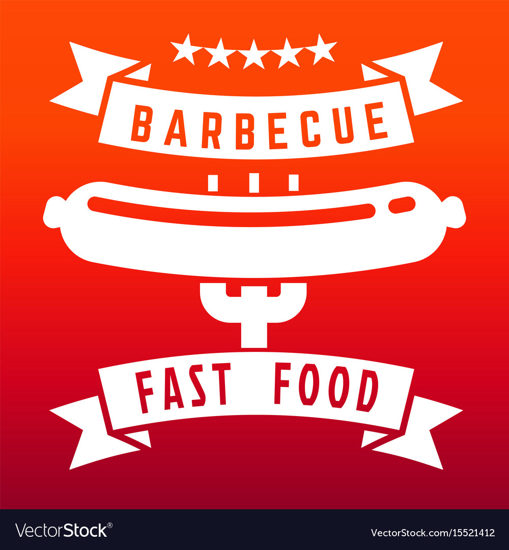 Fast food or barbecue label on flame color vector image