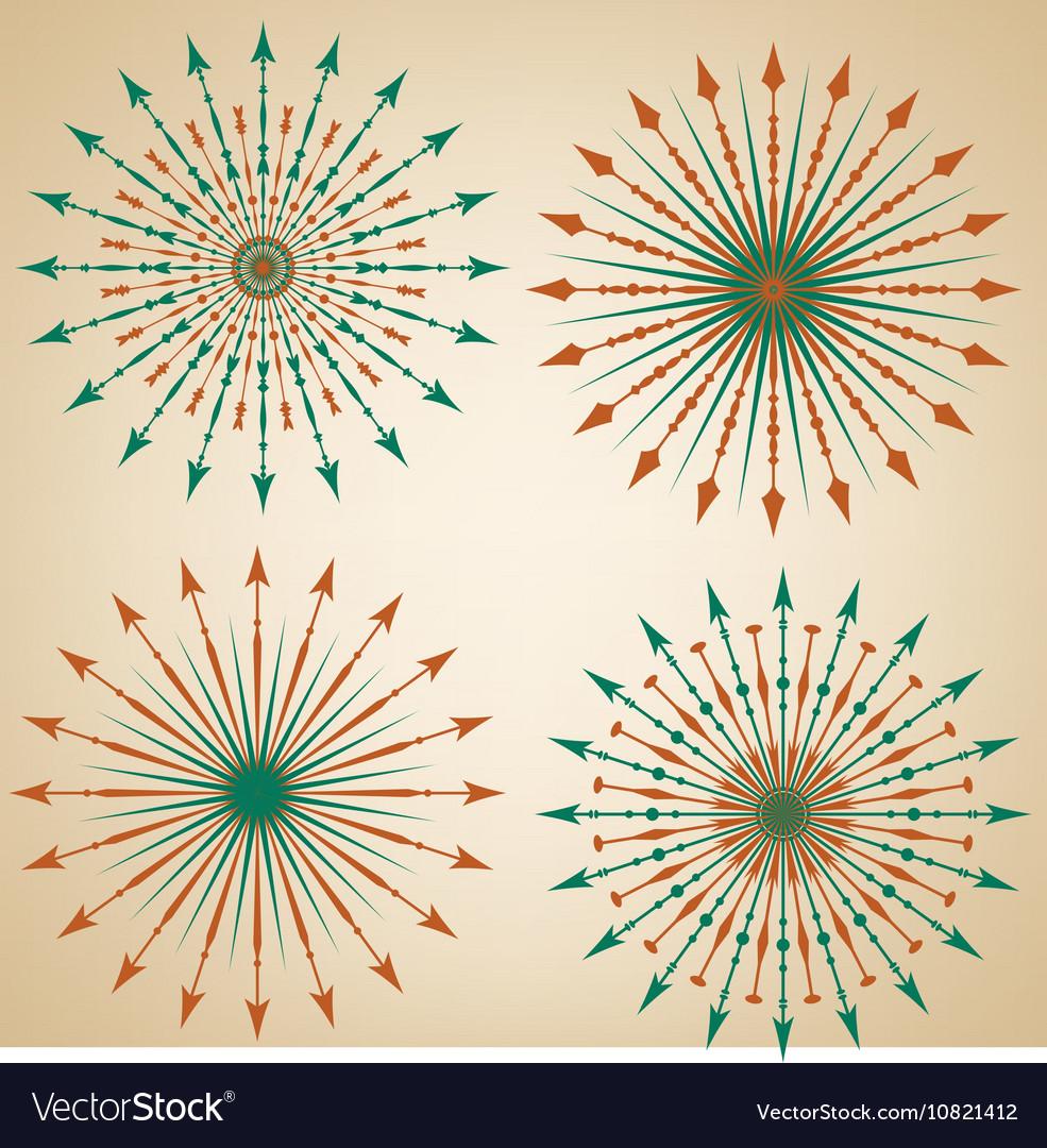 Set of arrow sunbursts vector image