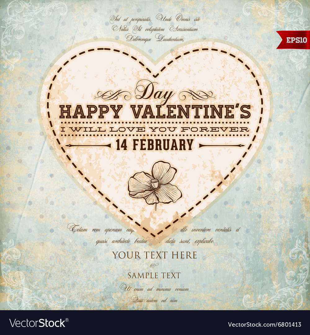 Rustic Valentines Card vector image
