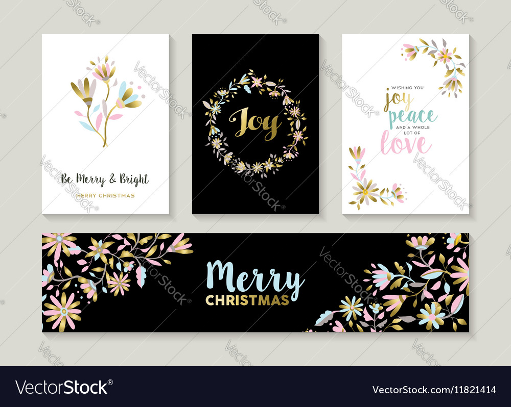 Gold Christmas set of floral designs vector image