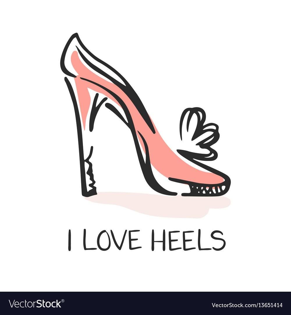 I love heels fashion emblem vector image