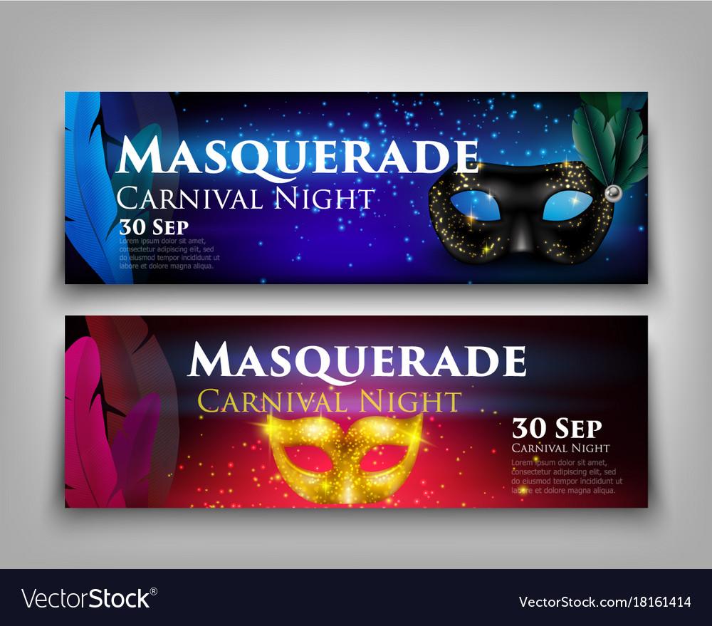 Masquerade invitation banners vector image