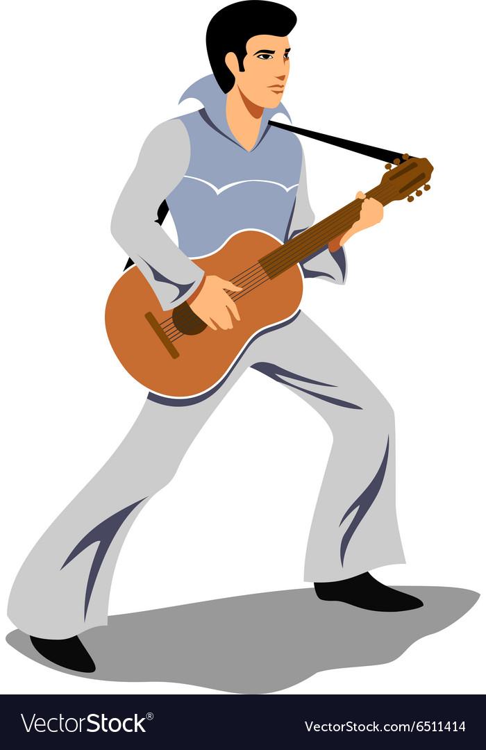 Musician artist like Elvis Presley with a guitar vector image